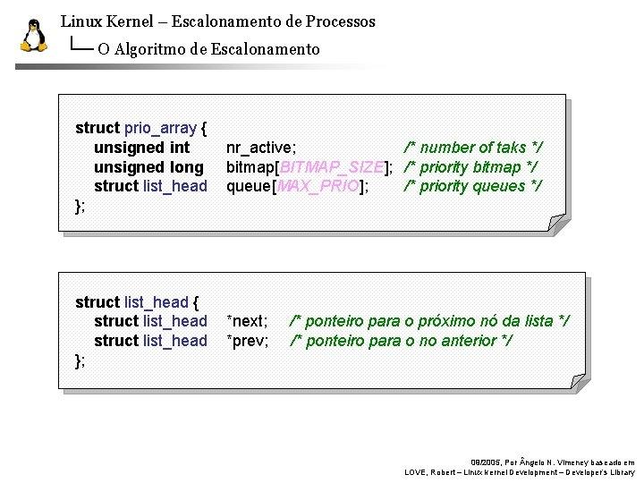 Linux Kernel – Escalonamento de Processos O Algoritmo de Escalonamento struct prio_array { unsigned