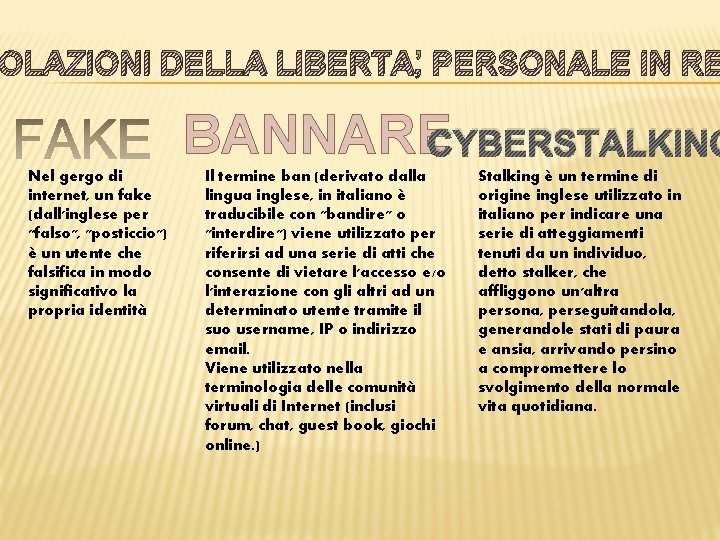 OLAZIONI DELLA LIBERTA' PERSONALE IN RE BANNARECYBERSTALKING Nel gergo di internet, un fake (dall'inglese