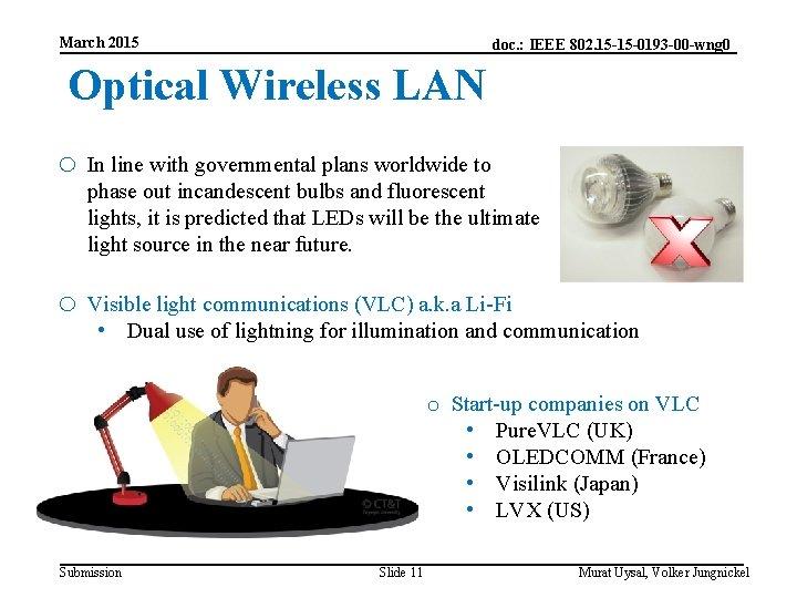 March 2015 doc. : IEEE 802. 15 -15 -0193 -00 -wng 0 Optical Wireless