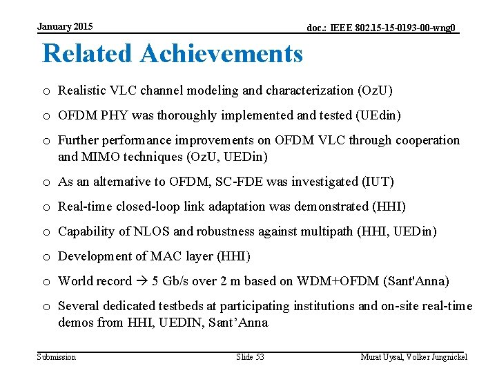 January 2015 doc. : IEEE 802. 15 -15 -0193 -00 -wng 0 Related Achievements