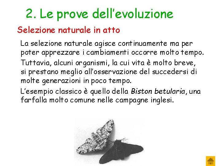 2. Le prove dell'evoluzione Selezione naturale in atto La selezione naturale agisce continuamente ma