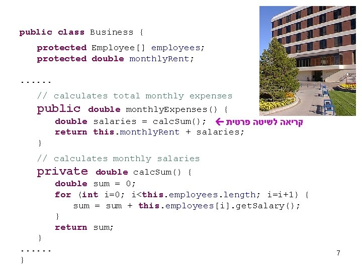 public class Business { protected Employee[] employees; protected double monthly. Rent; . . .