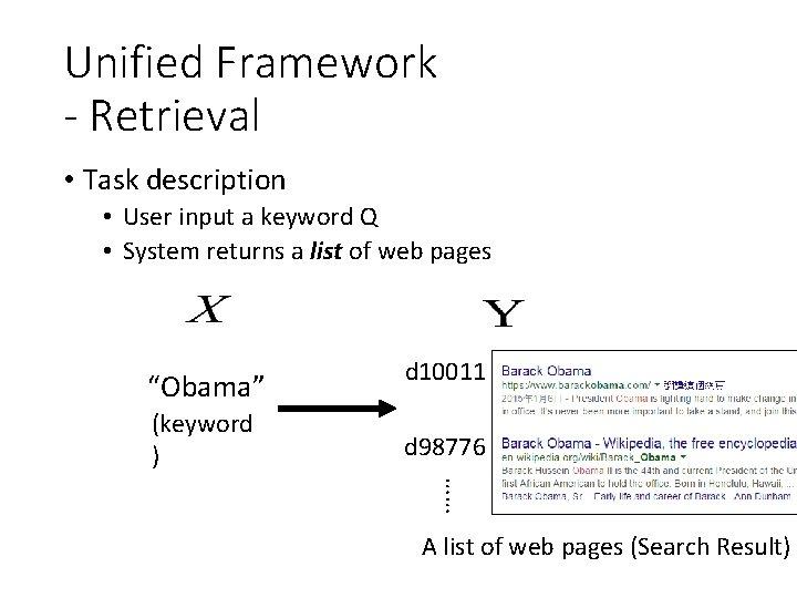 Unified Framework - Retrieval • Task description • User input a keyword Q •