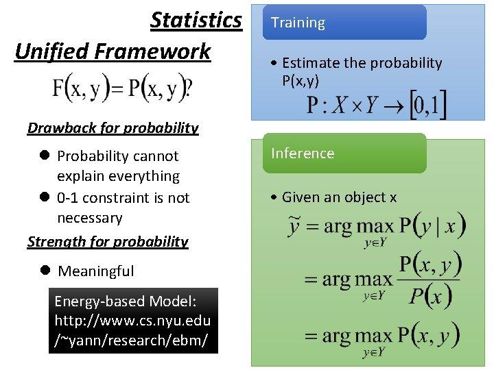 Statistics Unified Framework Training • Estimate the probability P(x, y) Drawback for probability l