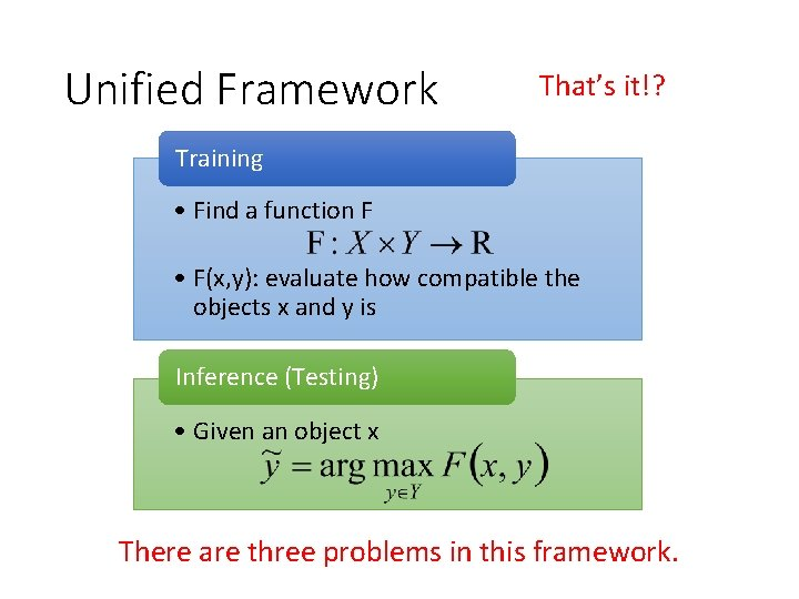 Unified Framework That's it!? Training • Find a function F • F(x, y): evaluate