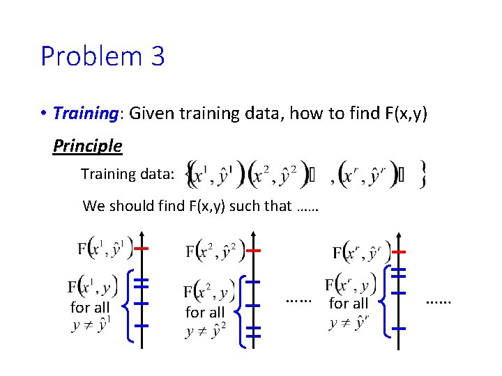 Problem 3 • Training: Given training data, how to find F(x, y) Principle Training