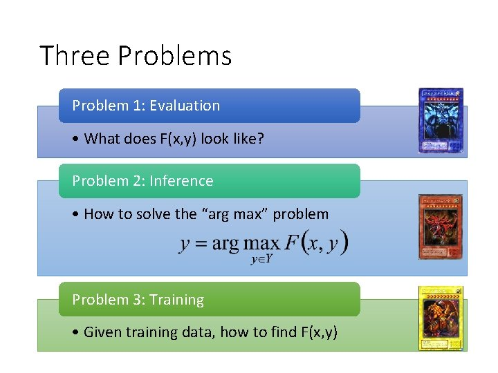 Three Problems Problem 1: Evaluation • What does F(x, y) look like? Problem 2: