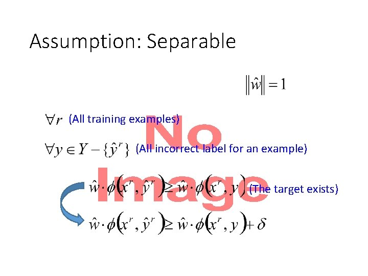 Assumption: Separable • (All training examples) (All incorrect label for an example) (The target