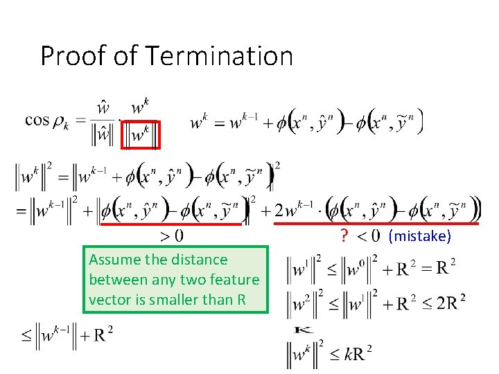 Proof of Termination ? Assume the distance between any two feature vector is smaller