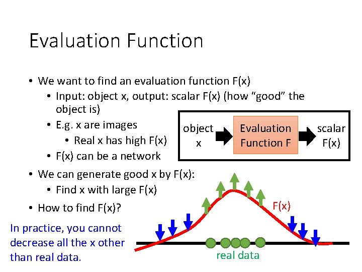 Evaluation Function • We want to find an evaluation function F(x) • Input: object