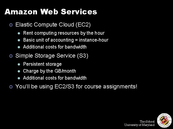 Amazon Web Services ¢ Elastic Compute Cloud (EC 2) l l l ¢ Simple