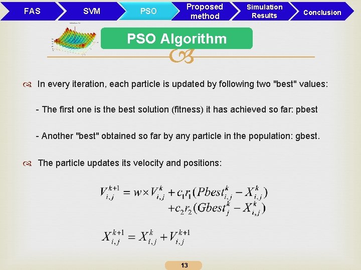 FAS SVM PSO Proposed method Simulation Results Conclusion PSO Algorithm In every iteration, each