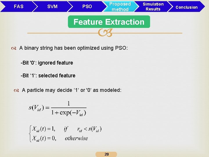FAS SVM Proposed method PSO Simulation Results Feature Extraction A binary string has been