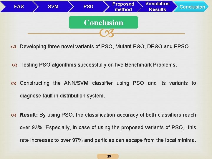 FAS SVM Proposed method PSO Simulation Results Conclusion Developing three novel variants of PSO,