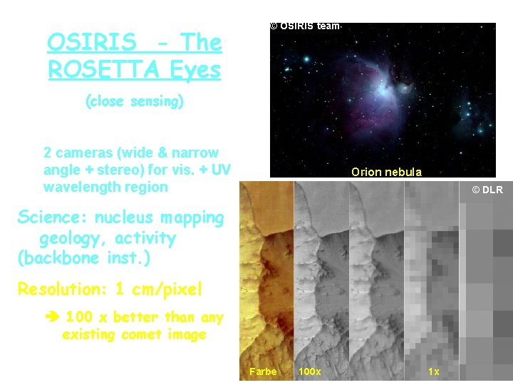 OSIRIS - The ROSETTA Eyes © OSIRIS team (close sensing) 2 cameras (wide &