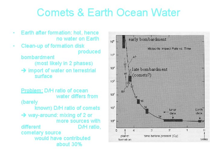 Comets & Earth Ocean Water • • Earth after formation: hot, hence no water