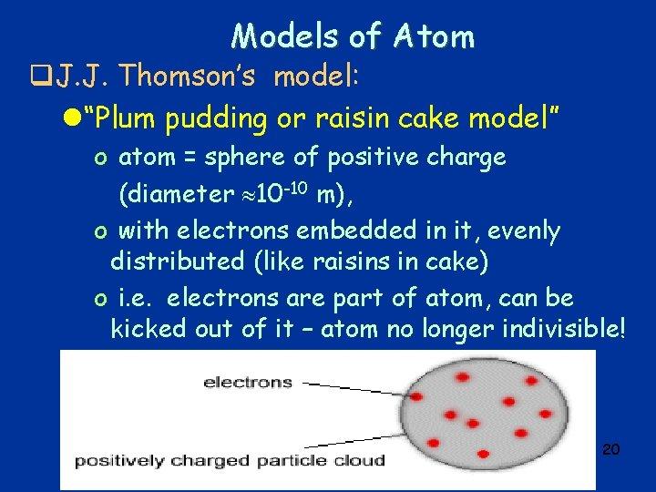 "Models of Atom q. J. J. Thomson's model: l""Plum pudding or raisin cake model"""