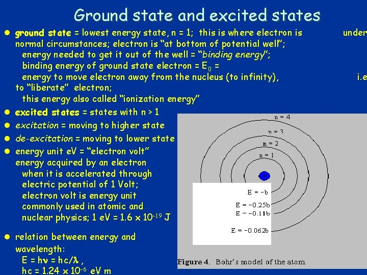 Ground state and excited states l ground state = lowest energy state, n =