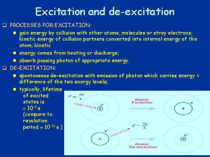 Excitation and de-excitation q PROCESSES FOR EXCITATION: l gain energy by collision with other