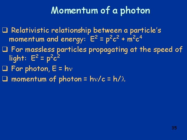 Momentum of a photon q Relativistic relationship between a particle's momentum and energy: E
