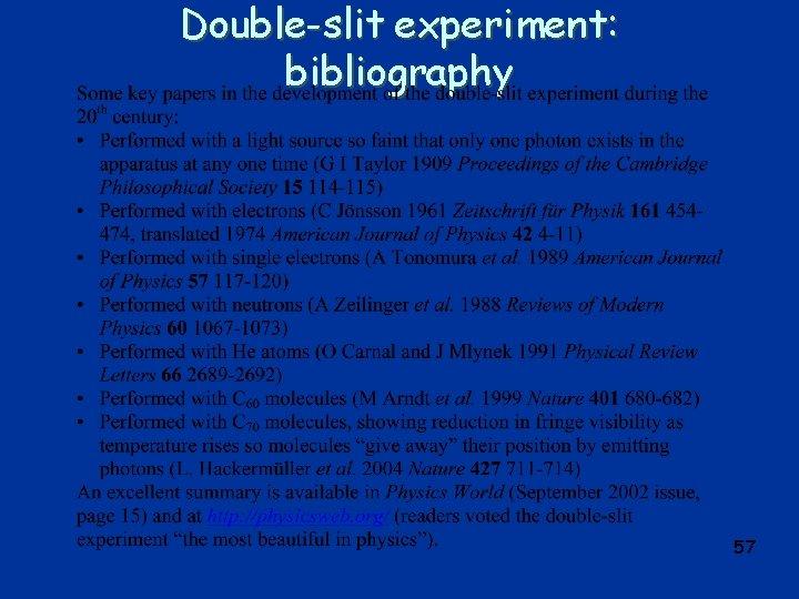 Double-slit experiment: bibliography 57
