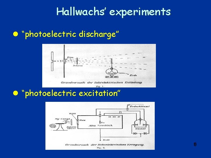 """Hallwachs' experiments l """"photoelectric discharge"""" l """"photoelectric excitation"""" 8"""