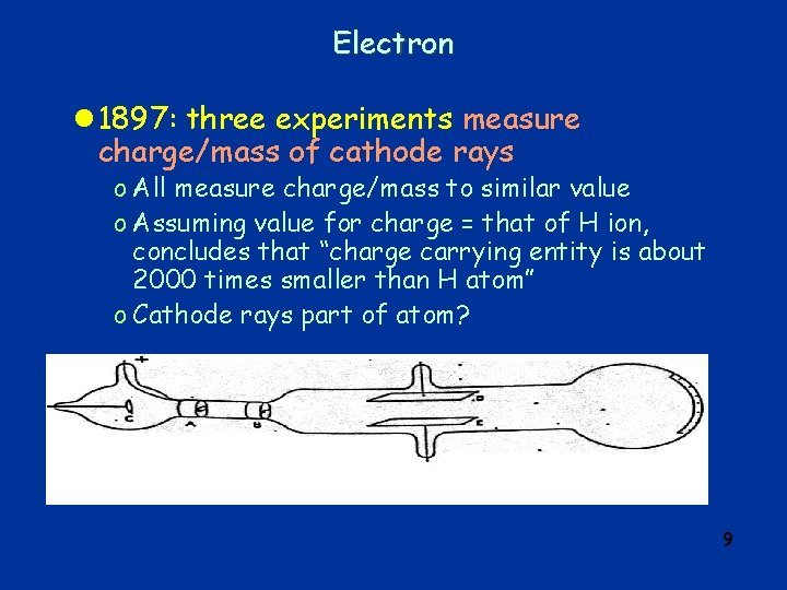 Electron l 1897: three experiments measure charge/mass of cathode rays o All measure charge/mass