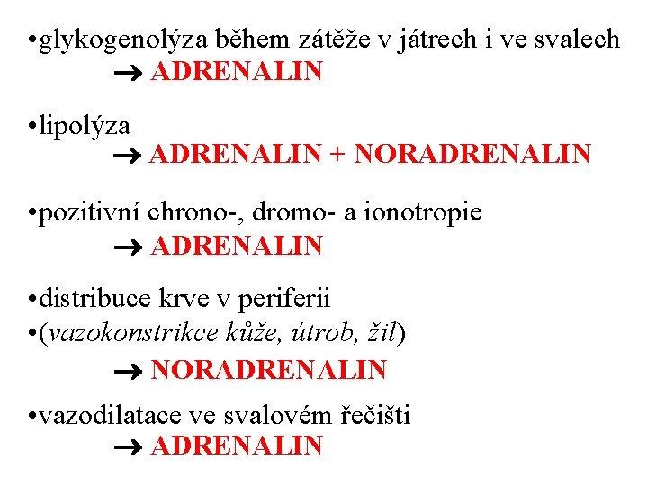• glykogenolýza během zátěže v játrech i ve svalech ADRENALIN • lipolýza ADRENALIN