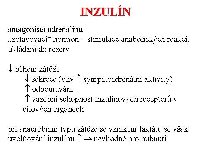 """INZULÍN antagonista adrenalinu """"zotavovací"""" hormon – stimulace anabolických reakcí, ukládání do rezerv během zátěže"""