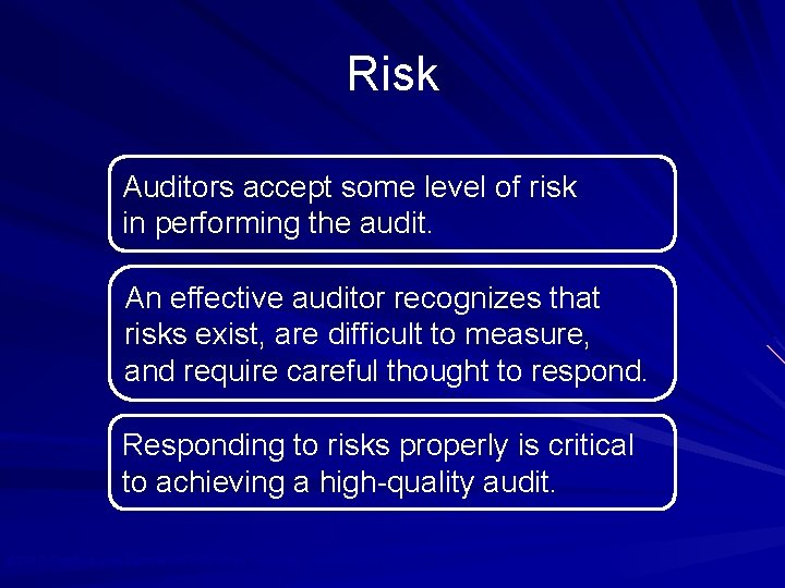 Risk Auditors accept some level of risk in performing the audit. An effective auditor