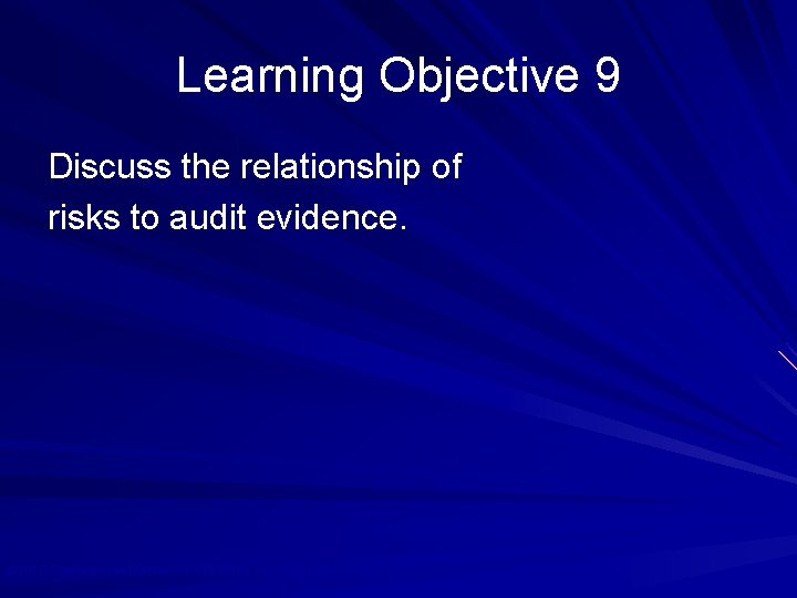 Learning Objective 9 Discuss the relationship of risks to audit evidence. © 2010 Prentice