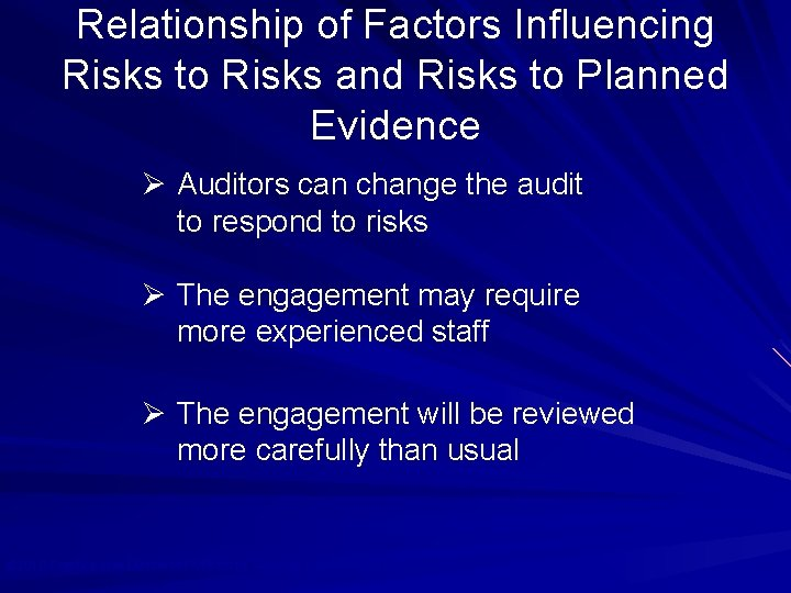 Relationship of Factors Influencing Risks to Risks and Risks to Planned Evidence Ø Auditors