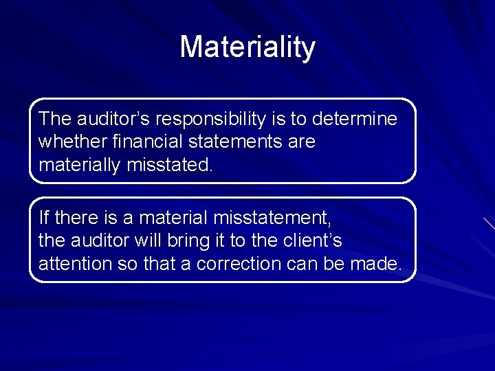 Materiality The auditor's responsibility is to determine whether financial statements are materially misstated. If