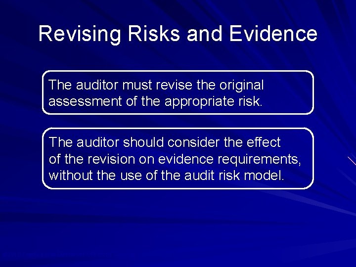 Revising Risks and Evidence The auditor must revise the original assessment of the appropriate