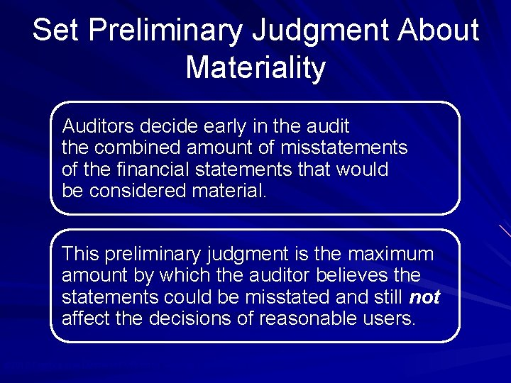 Set Preliminary Judgment About Materiality Auditors decide early in the audit the combined amount