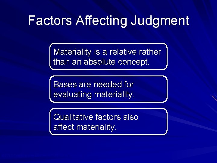 Factors Affecting Judgment Materiality is a relative rather than an absolute concept. Bases are