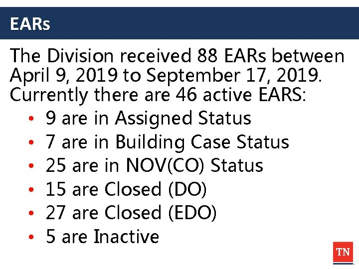 EARs The Division received 88 EARs between April 9, 2019 to September 17, 2019.