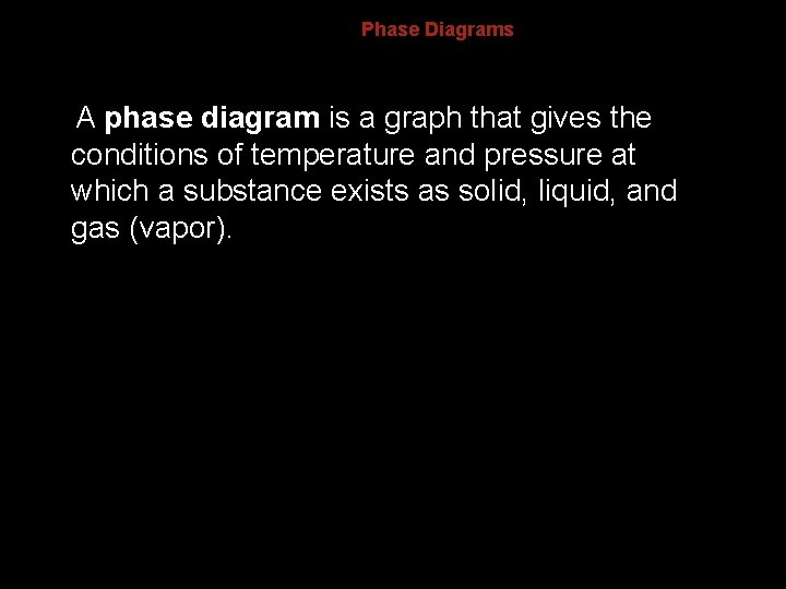 13. 4 Phase Diagrams A phase diagram is a graph that gives the conditions