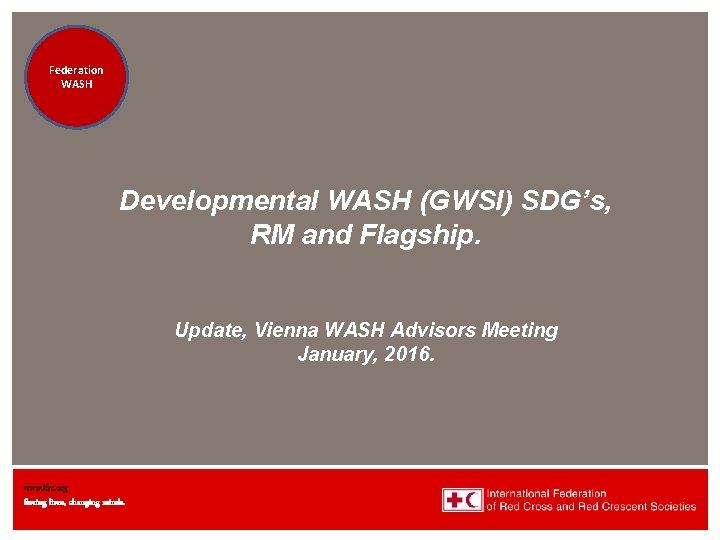 Federation Health WASH Wat. San/EH Developmental WASH (GWSI) SDG's, RM and Flagship. Update, Vienna