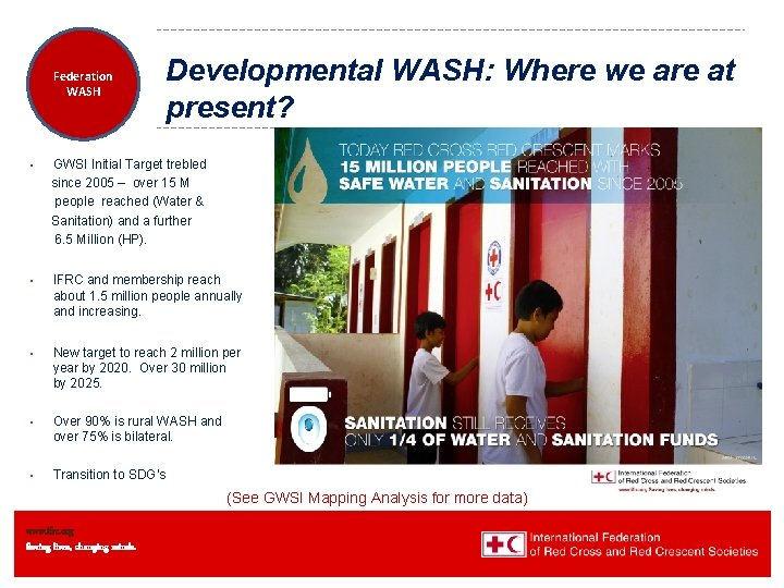 Federation Health WASH Wat. San/EH Developmental WASH: Where we are at present? • GWSI