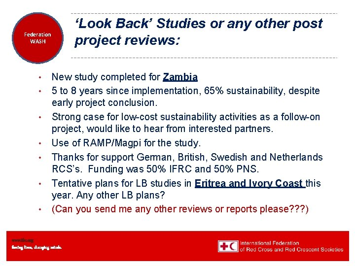 'Look Back' Studies or any other post project reviews: Federation Health WASH Wat. San/EH