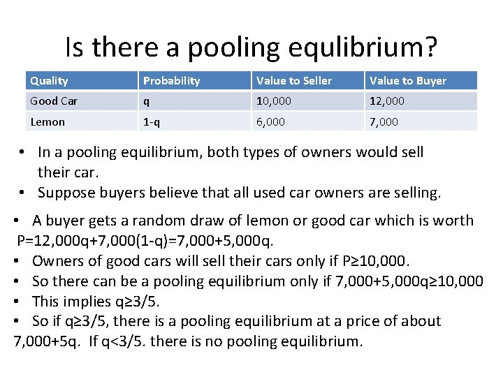 Is there a pooling equlibrium? Quality Probability Value to Seller Value to Buyer Good
