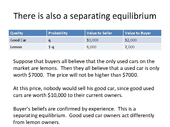 There is also a separating equilibrium Quality Probability Value to Seller Value to Buyer