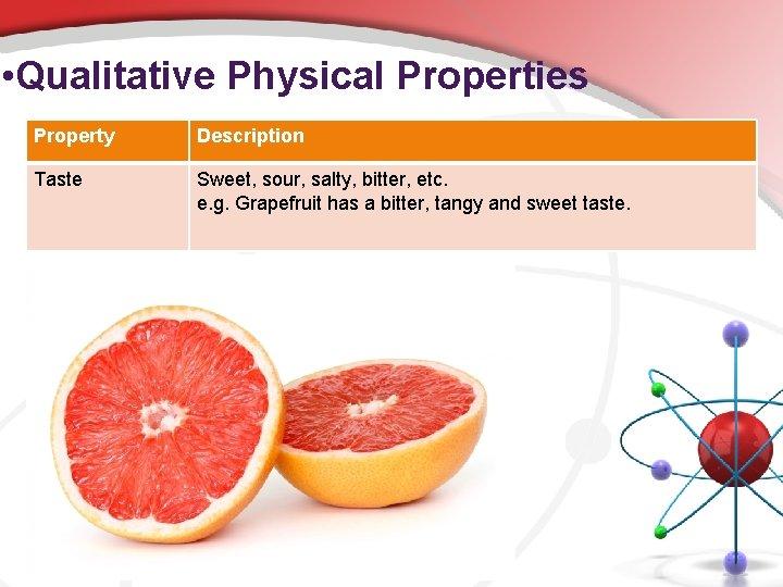 • Qualitative Physical Properties Property Description Taste Sweet, sour, salty, bitter, etc. e.