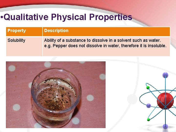• Qualitative Physical Properties Property Description Solubility Ability of a substance to dissolve