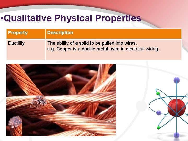 • Qualitative Physical Properties Property Description Ductility The ability of a solid to