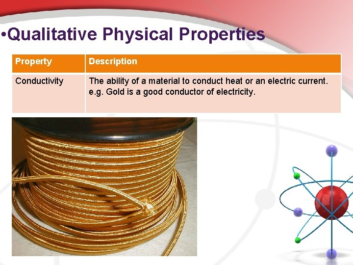 • Qualitative Physical Properties Property Description Conductivity The ability of a material to