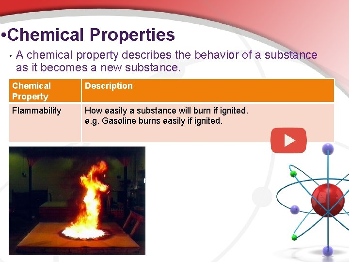 • Chemical Properties • A chemical property describes the behavior of a substance