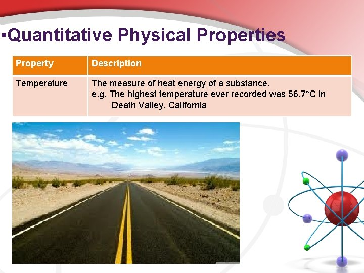 • Quantitative Physical Properties Property Description Temperature The measure of heat energy of