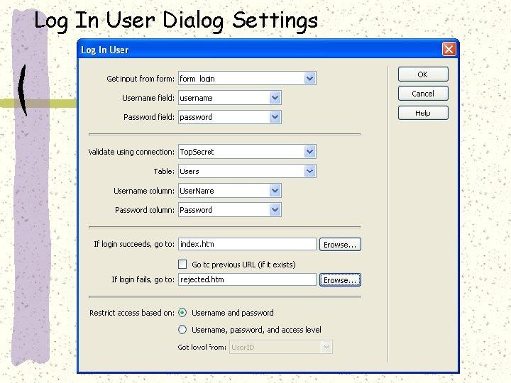 Log In User Dialog Settings